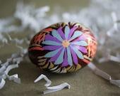 Vintage Ukranian Easter Egg, Russian Pysanky, Handpainted Wood, Flower Design, Spring Decor, Easter Decoration, Ukranian Egg, Flower Design