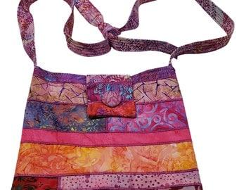 Large Cross Body Hip Purse in Pink Batik