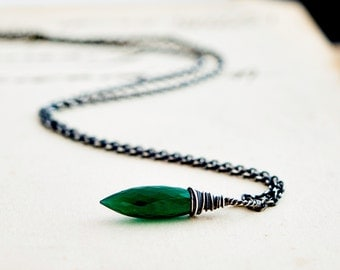 Onyx Necklace, Onyx Pendant, Halloween Necklace, Wicked Necklace, Green Onyx, Sterling Silver, Emerald Green, Wicked Witch, PoleStar