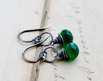Green Onyx Earrings, Drop Earrings, Emerald Green, Wire Wrapped, Sterling Silver, Dangle Earrings, Kelly Green, PoleStar, Halloween