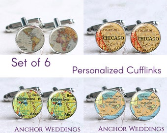 Custom Vintage Map Cufflinks, Set of 6 Personalized Cuff Links, Destination Wedding, Groomsmen Gift, Asking Groomsmen, Wedding Party PC247
