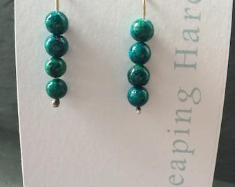 Green Jasper sterling silver stick earrings.
