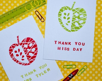 personalised handprinted linocut apple thank you card