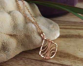 Rose Gold Filled Fan Necklace. Pink Gold. Wire Wrapped. 14kt. N381RG-S  wire jewelry by cristysjewlery on etsy