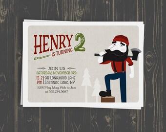 Lumberjack Party Invitation