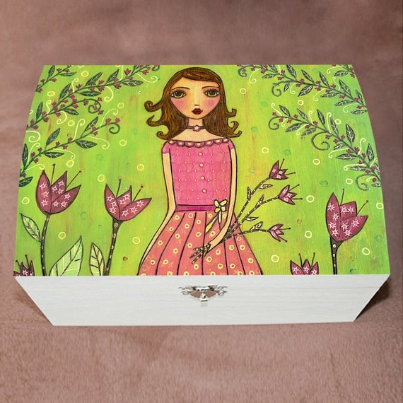 Flower girl large jewelry box wooden trinket box by sascalia for Girls large jewelry box