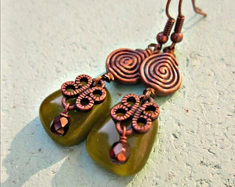 Green Glass and Rustic Copper Dangle Earrings: Hillside