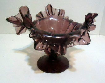 Larger Fenton, 1940s, Crimped Amethyst Beaded Compote