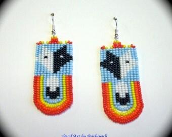 Wolf and Feather Native American Style Handwoven Long Dangle Seed Bead Earrings Fashion Earrings Boho Southwestern