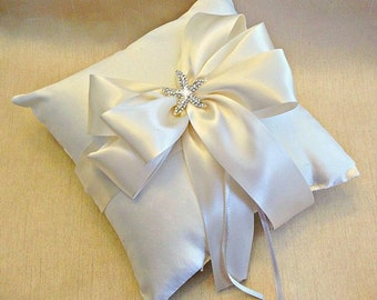 Ivory Ring Bearer Pillow - Ringbearer Pillow - Wedding Ring Pillow - Starfish Ring Pillow - Beach Wedding -  Custom Ring Pillow - 30 Colors
