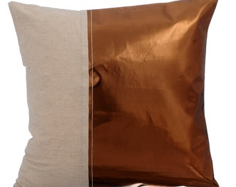 Decorative Throw Pillow Cover Accent Pillow Couch Sofa Leather Pillow Case 16x16 Copper Metallic Faux Leather Pillow Better Half Copper