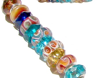 MERZIEs silver 11 European lampwork glass & faceted acrylic multi-colors Charm large hole beads set #15 - SHIPs from USA - Combined Shipping