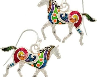 MERZIEs sterling silver ear hooks HORSE equine animal equestrian purple green red orange yellow black earrings - SHIPs from USA