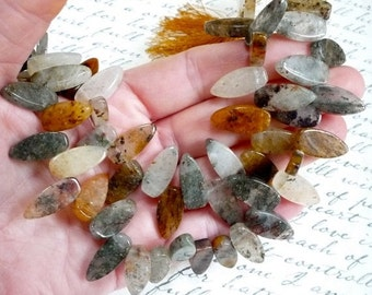 Summer Sale Fancy Brazilian Copper Rutilated Tourmalated  Quartz Briolette Beads