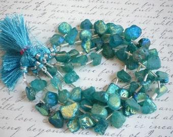 Summer Sale Mystic Aqua Aura Blue Topaz Nugget Briolette  Beads,  Apatite Blue Mystic Topaz Beads