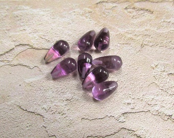 Natural Amethyst Briolette Beads 8mm x 15mm, Matched Pair Purple Gemstone,  1/2 Top Half Drill Drilled Beads , One Pair