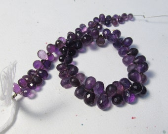 Disco Ball Faceted Dark Amethyst Briolette Beads 8 1/2 Inches 7mm 8mm Natural Gemstone Uruguay