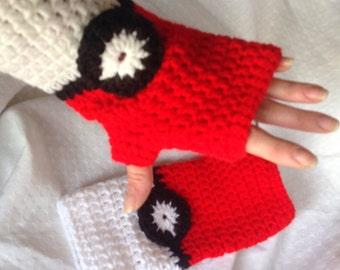 SALE - Pokemon Pokeball Inspired Fingerless Gloves (5610)