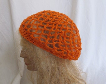 Orange Lacey Slouchy Beret/Tam/Dreadlock Hat (5271)
