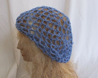 Purple Lacey Slouchy Beret/Tam/Dreadlock Hat (5273)