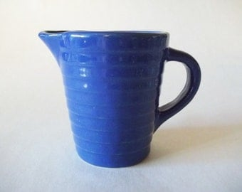Ringware Banded Pottery Creamer, Cobalt Blue Cream Pitcher, Country Kitchen, USA 1940s