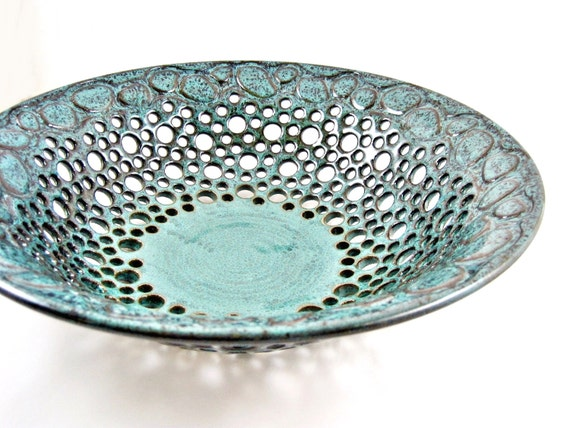 Pottery fruit bowl , ceramic fruit bowl , teal blue pottery , home decor , Modern pottery, anniversary gift - In stock fb110C