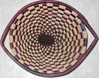 SALE 50% off Vintage African Tribal Gullah Basket, Sweetgrass Triple Indian Basket, Collectible Art Weaving Bowl- Original Weaving by Native