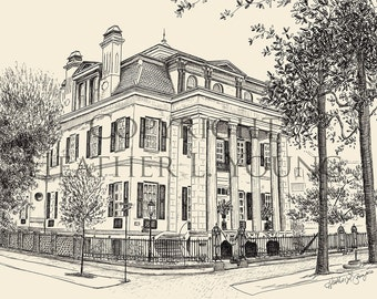 The Harper Fowlkes House Savannah Pen and Ink Print in Black and White