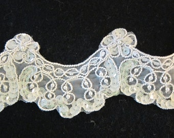 Over 6 Yds Scalloped Sequined Lace (shipping incl )reduced