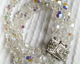 Triple Strand Crystal Bracelet, AB aurora borealis beads, silver tone rhinestone clasp, vintage 1950s costume jewelry glam