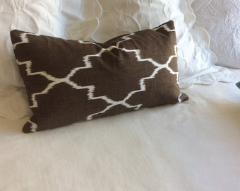 Monaco coffee brown decorative lumbar pillow with insert 12x22