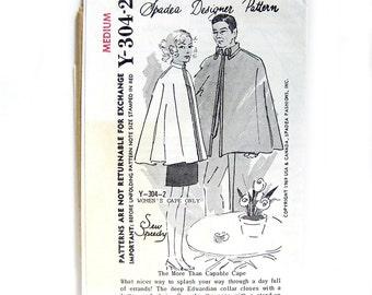 1960s Vintage Sewing Pattern - Spadea Y-304-2 - Cape - Designer Pattern Sew Speedy / Women's Medium UNCUT FF