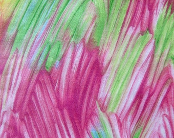 Vintage Cotton Sateen Fabric Bright Painterly Print in Pinks and Greens - All Cotton
