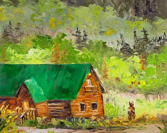 BEAR CABIN Framed Original Oil Painting Rustic Log House Mountains Scenic Cottage Pine Trees Brighton Utah Wasatch Silver Fork Lodge Resort