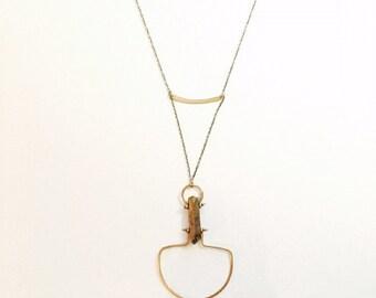 Gold Titanium Quartz Stone and Metal Hardware Necklace