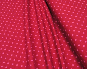 Jersey • Little Darling •  Pink dots on red • Cotton Jersey Knit Fabric 0.54yd (0.5m) 002784