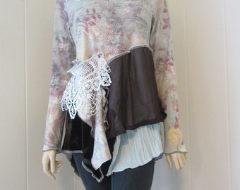 Boho Gypsy Tunic Blouse Vintage Lace French Script Layered Knit with Velvet Gray Brown Ivory Mauve Size S - M