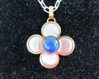 LAPIS LAZULI Huge FLOWER Sterling Silver Necklace -Signed-Mixed Metals