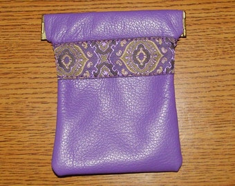 Purple LEATHER Coin Purse With Embroidered Trim