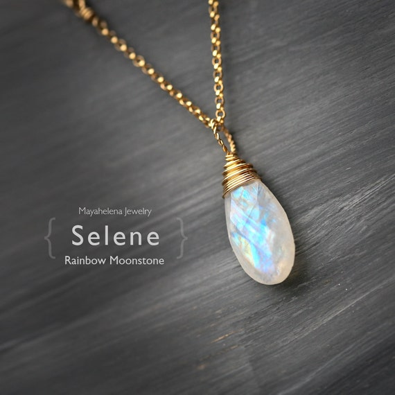 Selene - Large Rainbow Moonstone Briolette Wire Wrapped 14k Gold Filled Necklace