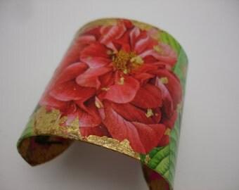 Flower Cuff Decoupage Cuff Bracelet gold leaf cuff large cuff