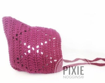 Lucy in the sky crochet pixie bonnet size 3m.
