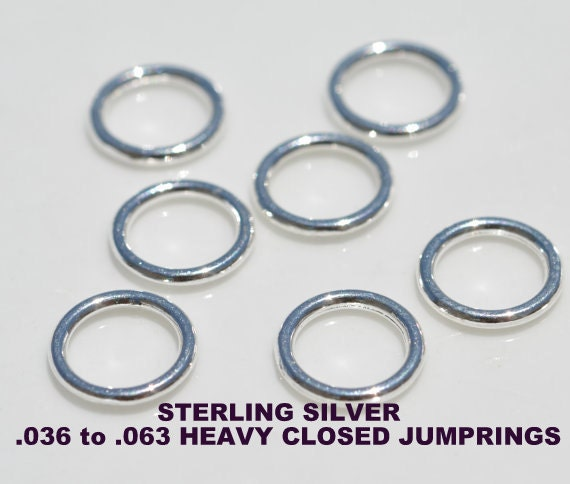 JUMPRINGS, HEAVY, STERLING, Silver, Round,.036, .040, .063, Closed, Large, Clasp, Ring