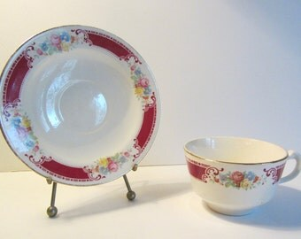 Vintage Tea Cup and Saucer Homer Laughlin Brittany Pattern