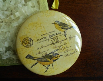 Pocket Mirror-Yellow birds with french Script