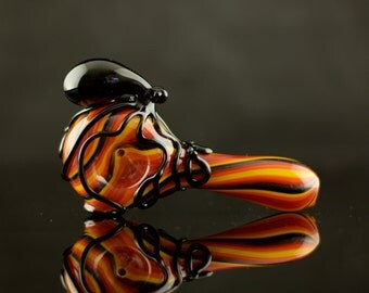 Octopus Glass Spoon Pipe Hand Blown Thick Wall in Aztec Fire & Black, Ready to Ship #381