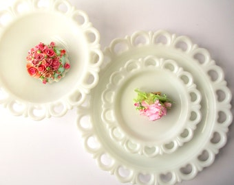 Vintage Milk Glass Lacy Bowl Plate Platter Collection of Three -  Weddings