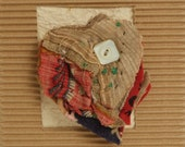 Fiber Art Greeting Card w Upcycled Primitive quilt brooch