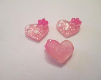 20 Pink Heart Flat Back Buttons Embellishments Craft Supplies