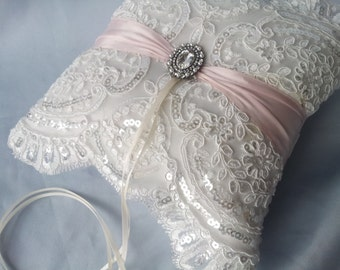 Blush Beaded Ivory Ring Bearer Pillow Light Pink Bridal Lace Ring Pillow Pearl Rhinestone Accent Autumn Fall